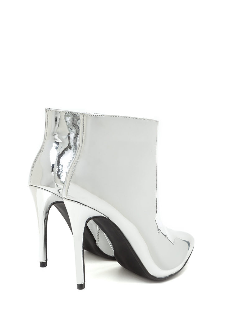 Point Value Metallic Faux Patent Booties SILVER