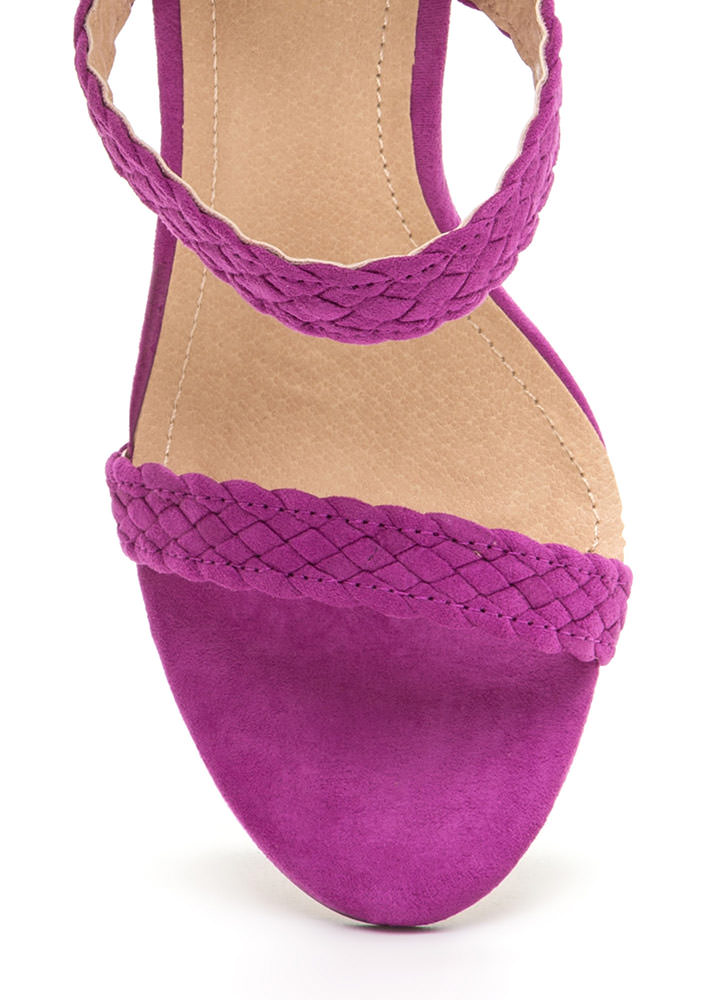 Weave A Tale Triple Strap Heels PURPLE