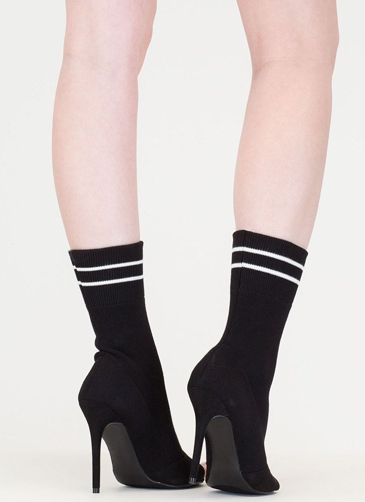 Go Team Striped Knit Sock Booties BLACK