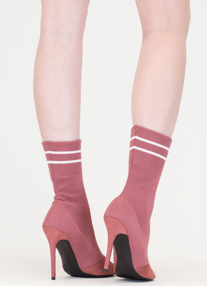 Go Team Striped Knit Sock Booties MAUVE