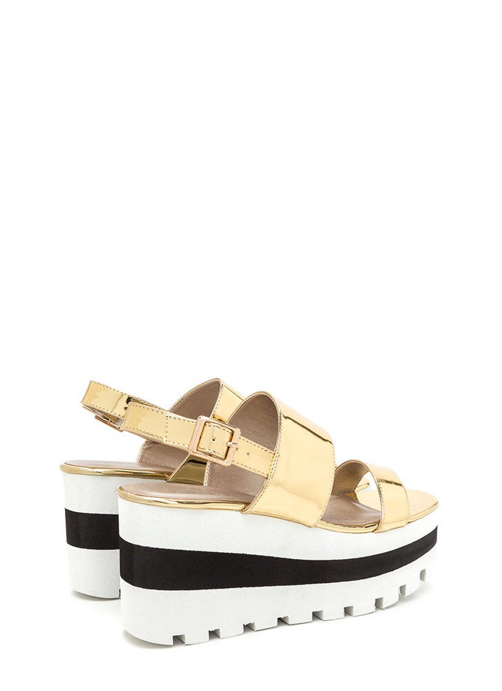 New Heights Metallic Wedge Sandals GOLD