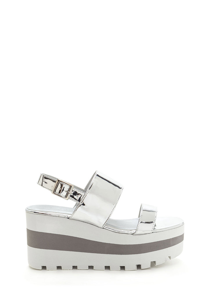 New Heights Metallic Wedge Sandals SILVER