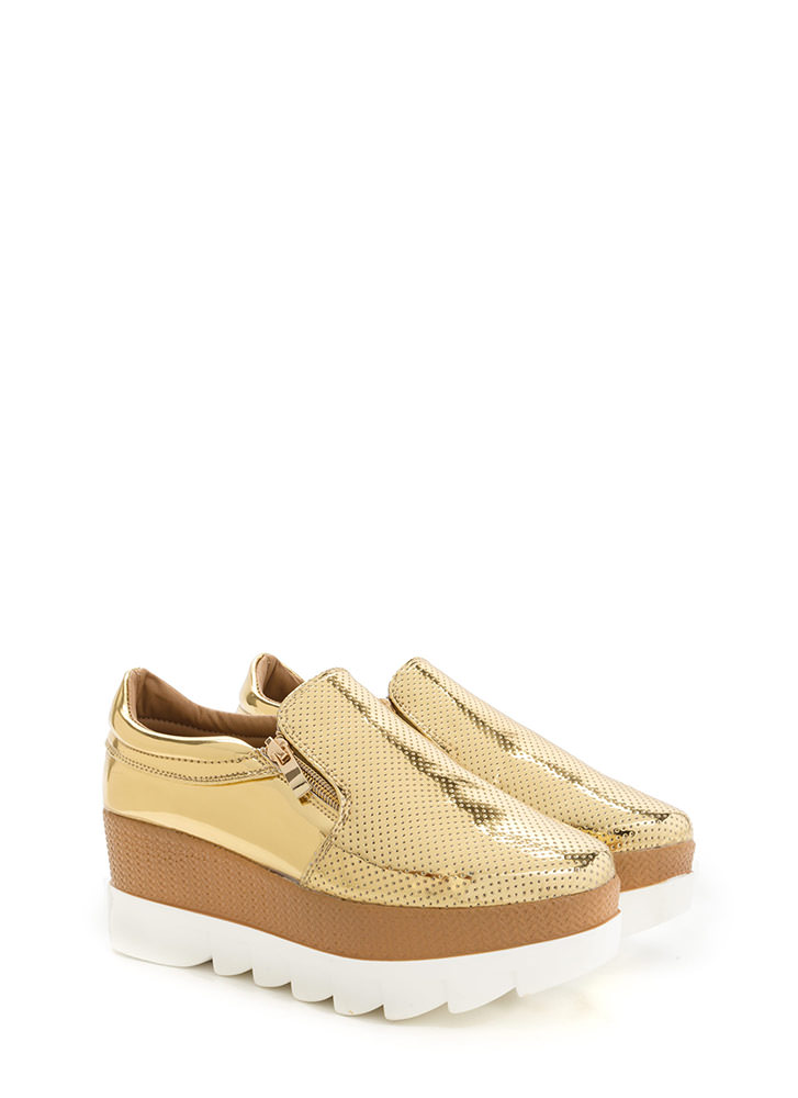Zips Are Sealed Metallic Platform Wedges GOLD