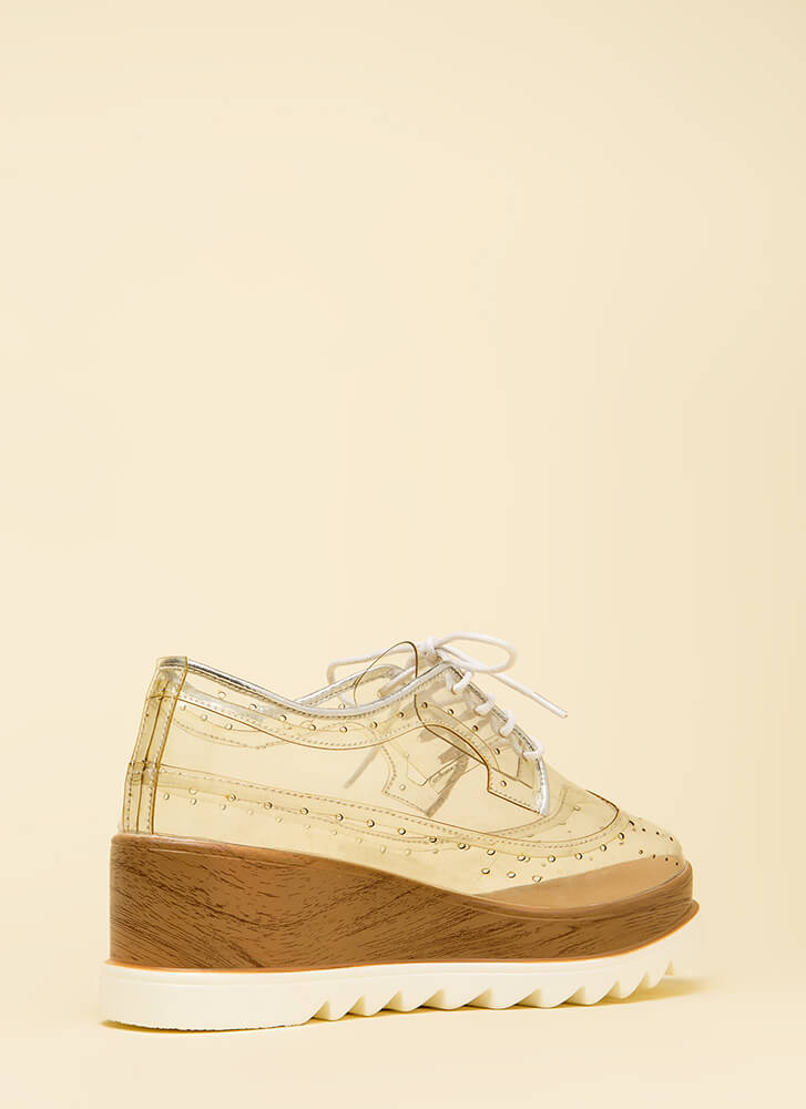 Clear View Platform Oxford Wedges CLEAR