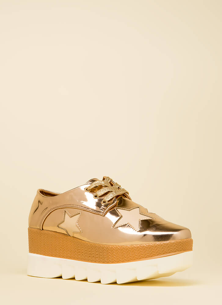 Stargazing Metallic Platform Wedges ROSEGOLD