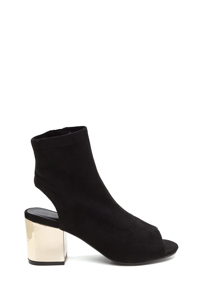 Glow Get 'Em Chunky Faux Suede Booties BLACK