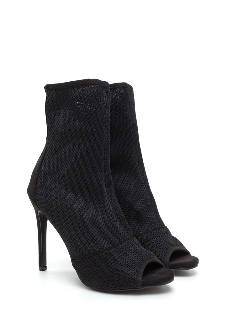 Chic Now Peep-Toe Stiletto Booties BLACK