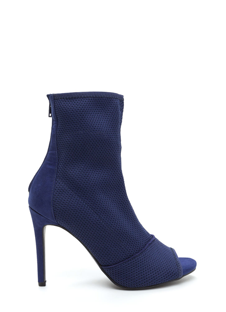 Chic Now Peep-Toe Stiletto Booties NAVY (Final Sale)