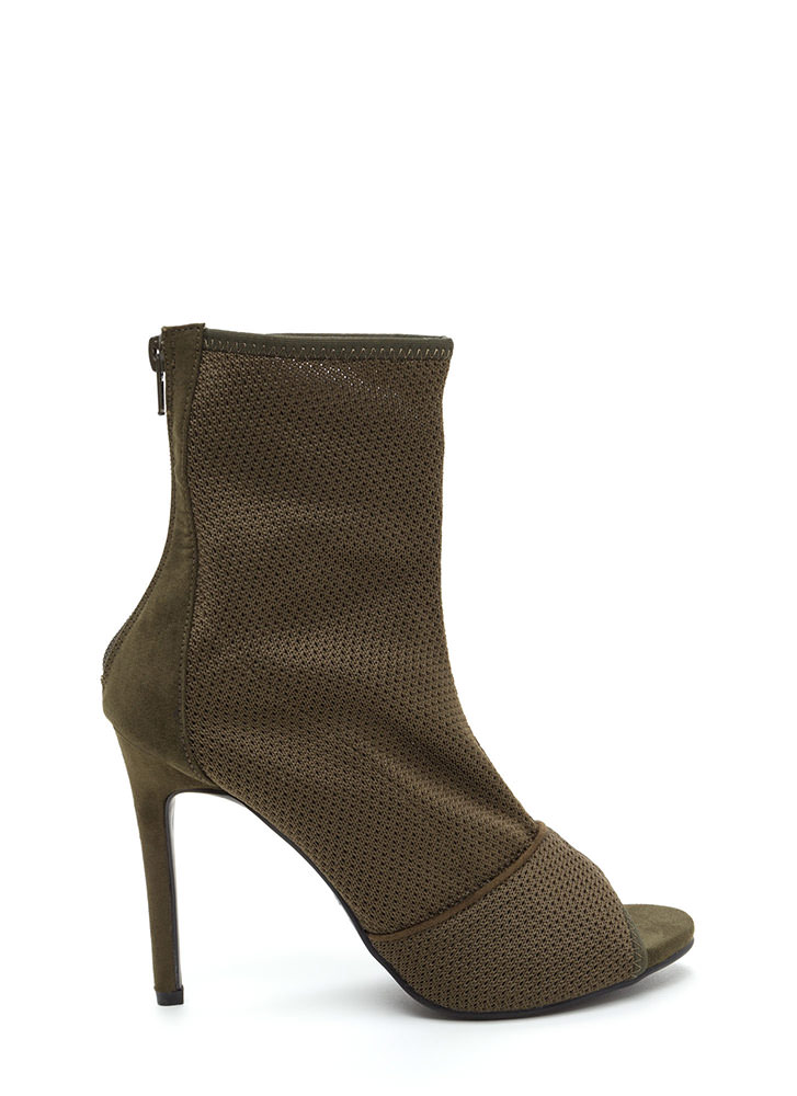 Chic Now Peep-Toe Stiletto Booties OLIVE