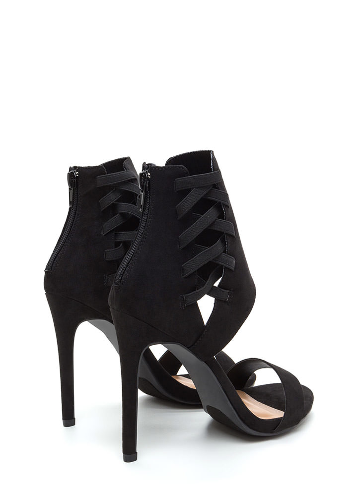 Laced The Test Faux Suede Heels BLACK