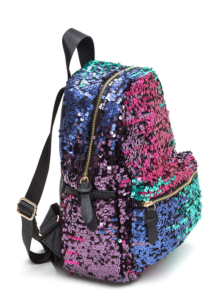 Pursue Your Gleams Sequined Backpack BLUEMULTI