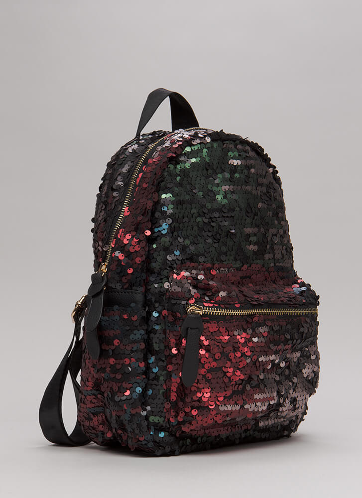Pursue Your Gleams Sequined Backpack OLIVEMULTI