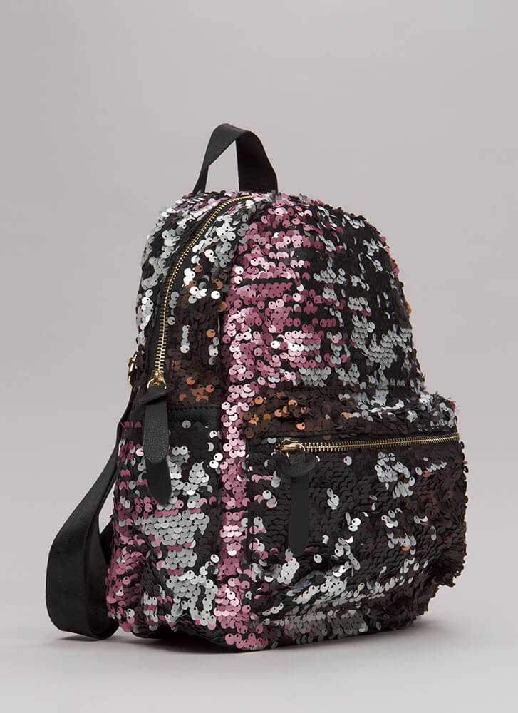 Pursue Your Gleams Sequined Backpack PINKMULTI