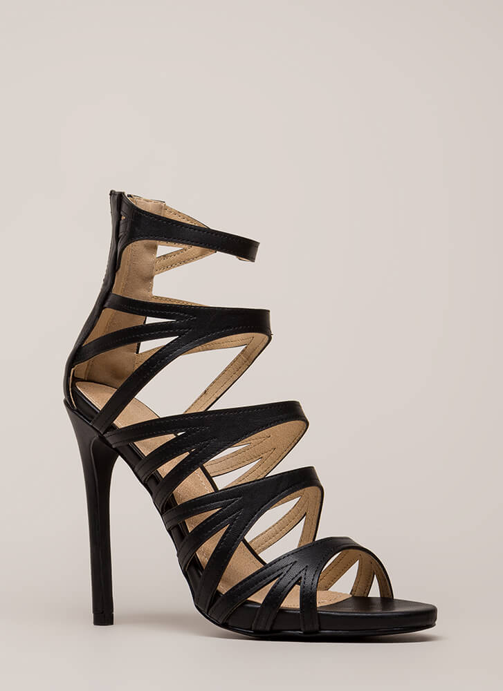 Set Off A Flare Strappy Cut-Out Heels BLACK