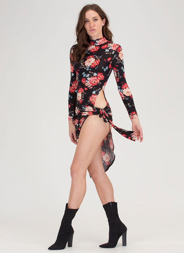Floral Story High-Cut Asymmetrical Dress BLACK