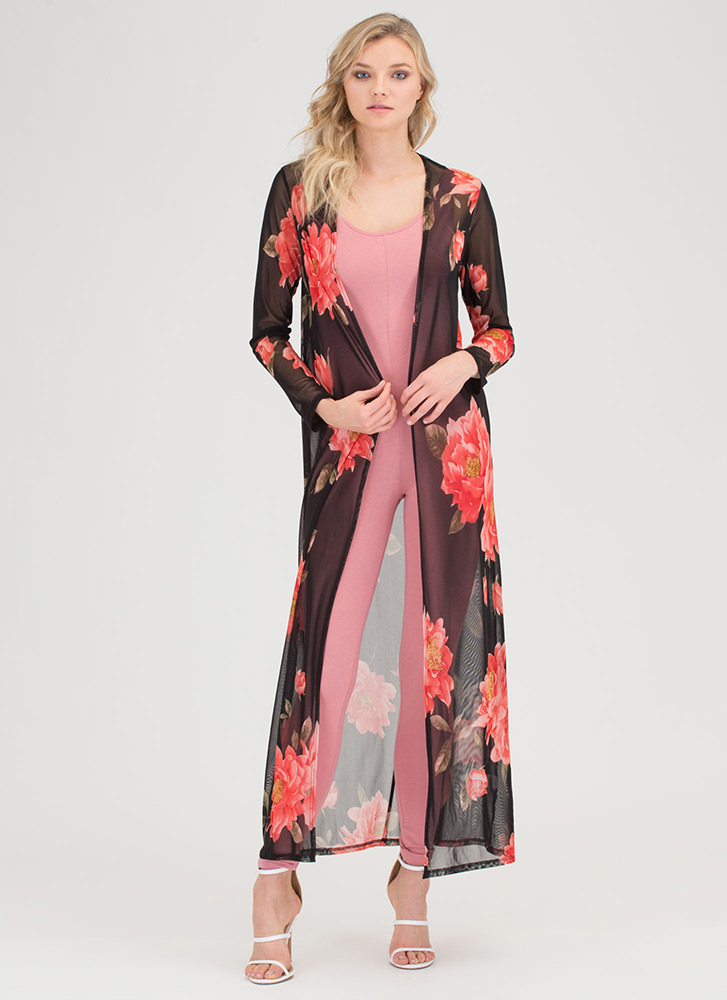 Fancy 'N Flowing Sheer Floral Duster BLACK