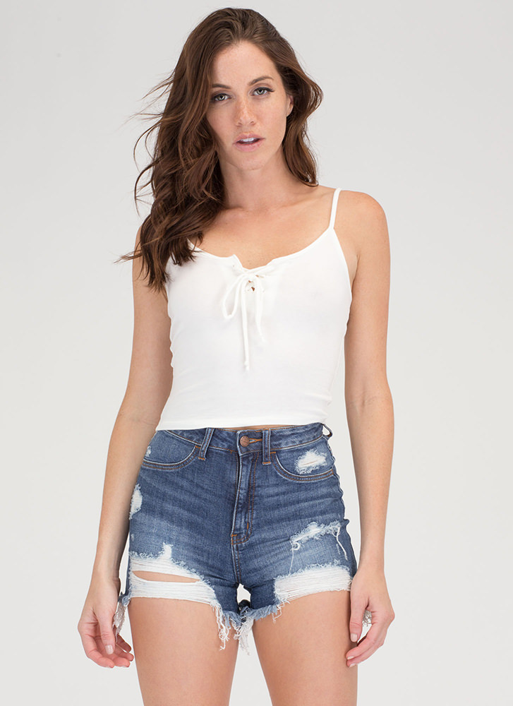 Basic Need Lace-Up Cropped Tank WHITE