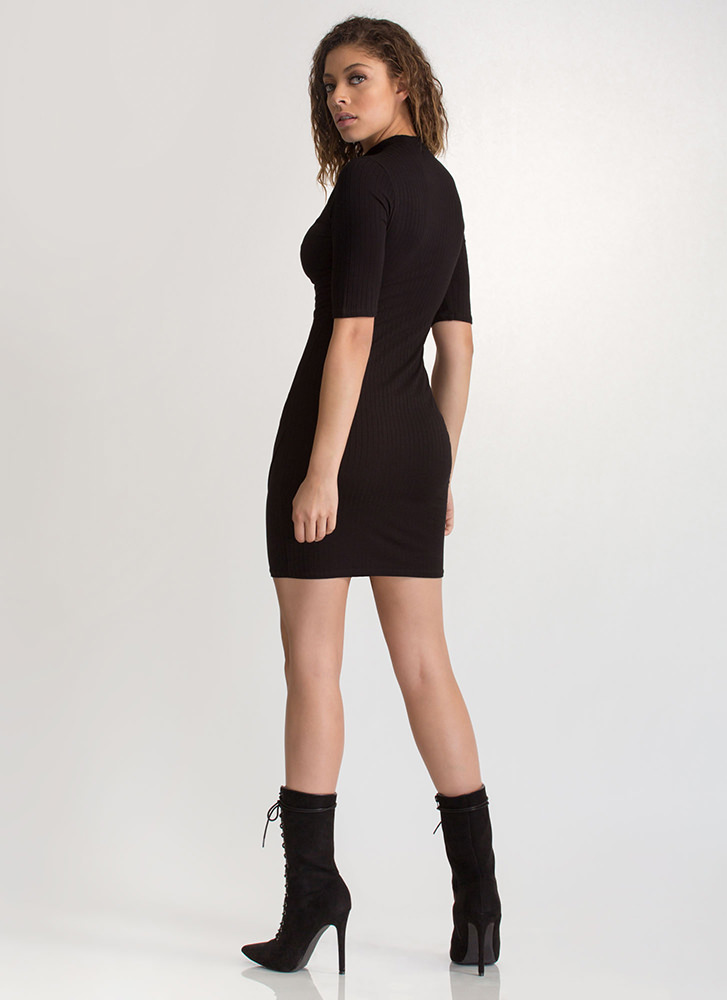 Daily Pick Cut-Out Choker Mini Dress BLACK