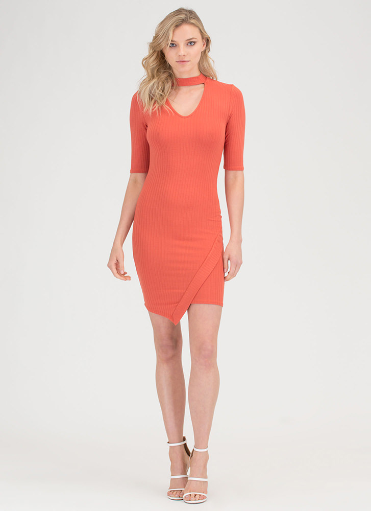 Daily Pick Cut-Out Choker Mini Dress RUST