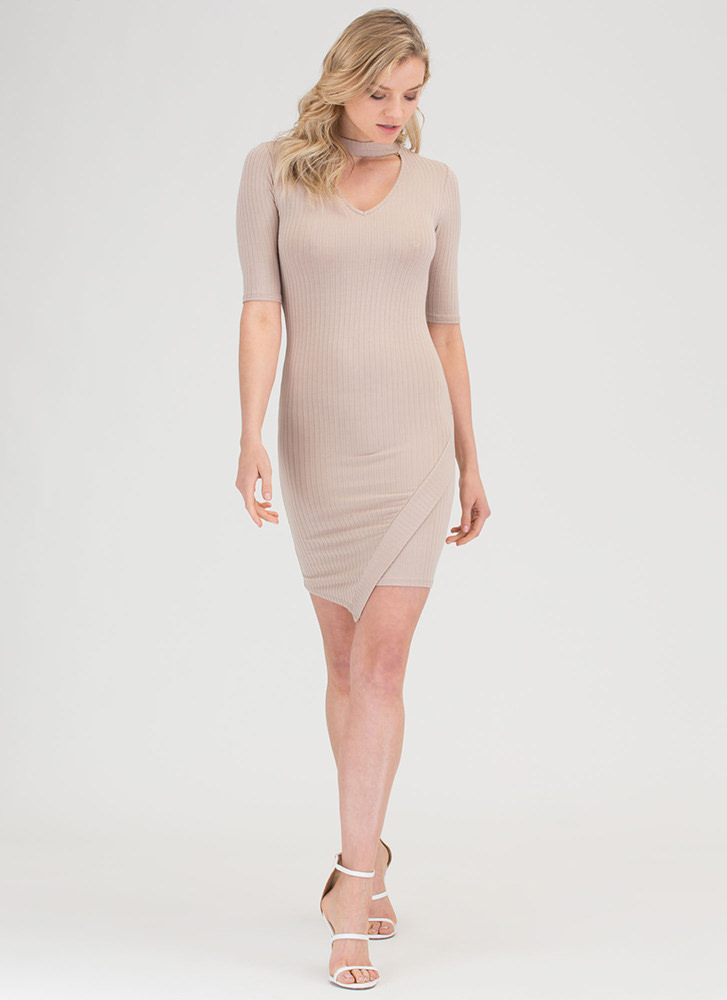 Daily Pick Cut-Out Choker Mini Dress TAUPE