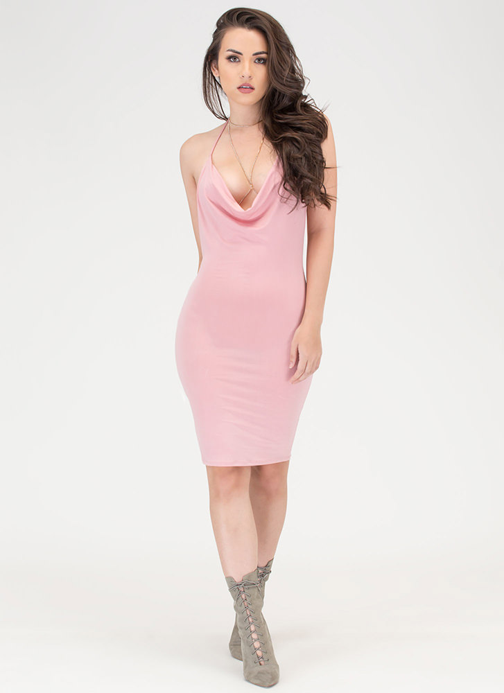 Night Cowl Draped Halter Dress DUSTYPINK