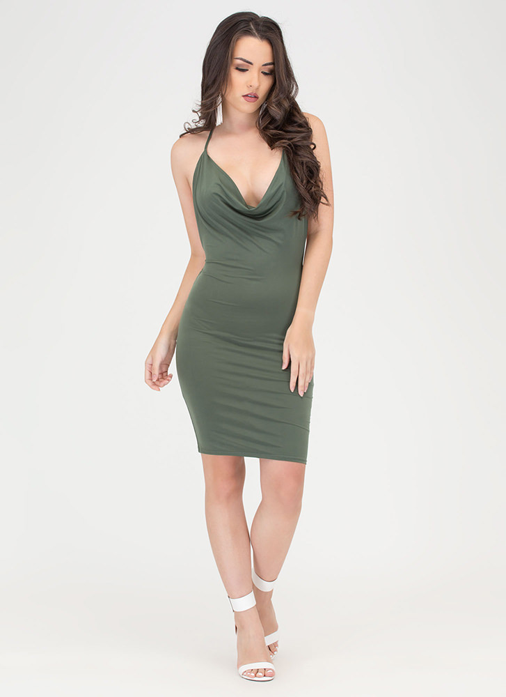 Night Cowl Draped Halter Dress OLIVE
