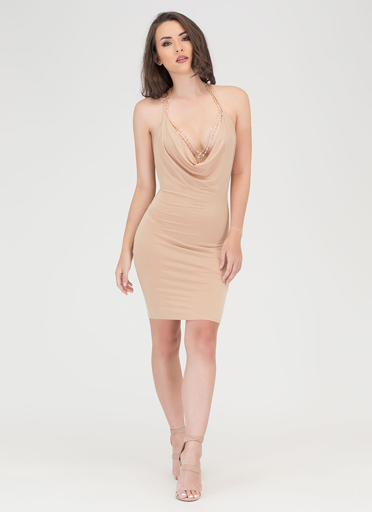 Night Cowl Draped Halter Dress TAUPE