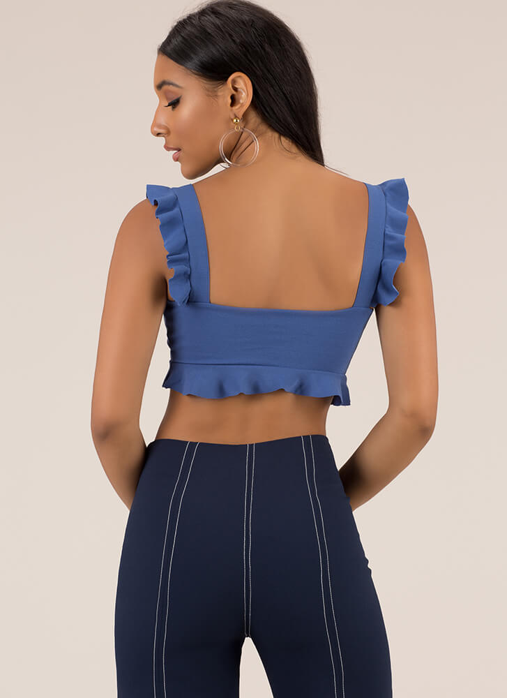 What A Frill Ruffle Strap Crop Top BLUE