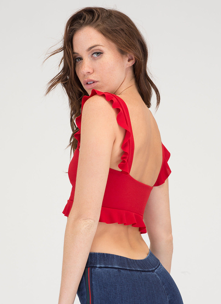 What A Frill Ruffle Strap Crop Top RED
