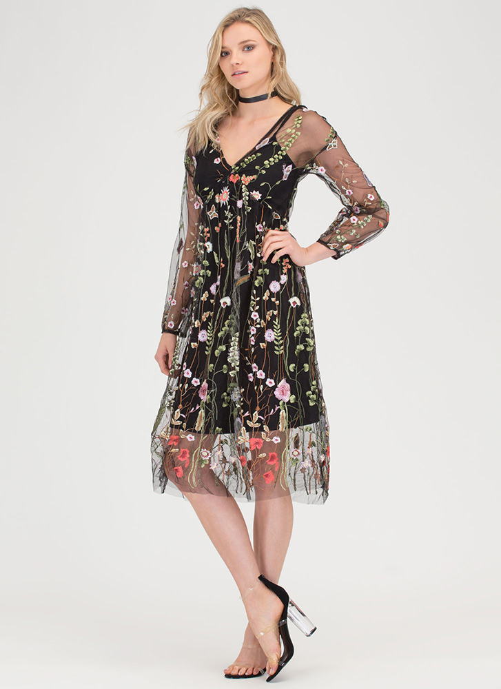 Floral Aura Sheer Embroidered Dress BLACK