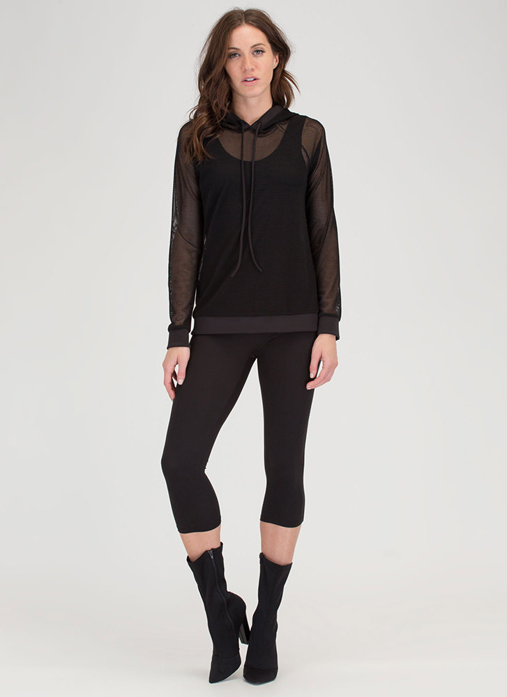 Just For Sport Netted Mesh Hoodie BLACK