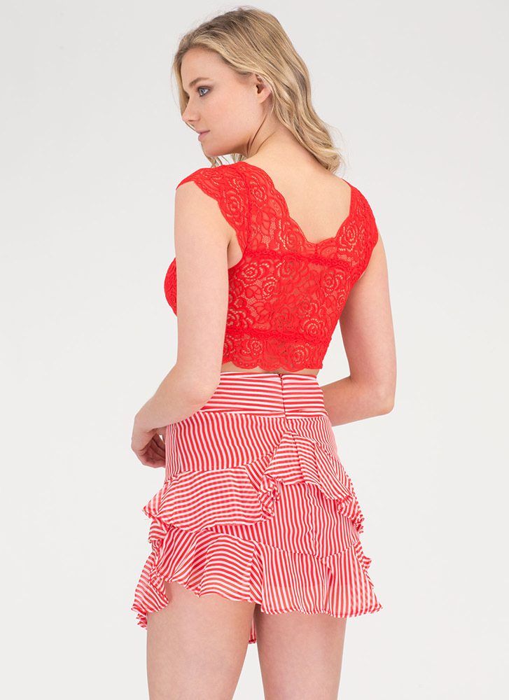 Breezy Does It Striped Ruffled Skirt REDWHITE