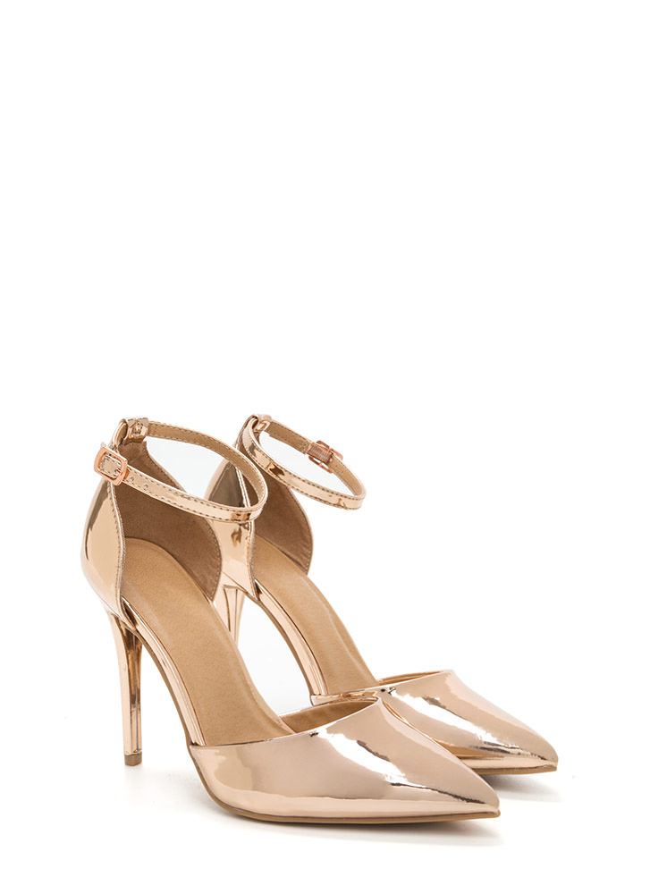 Perfect Gleam Pointy Metallic Heels ROSEGOLD