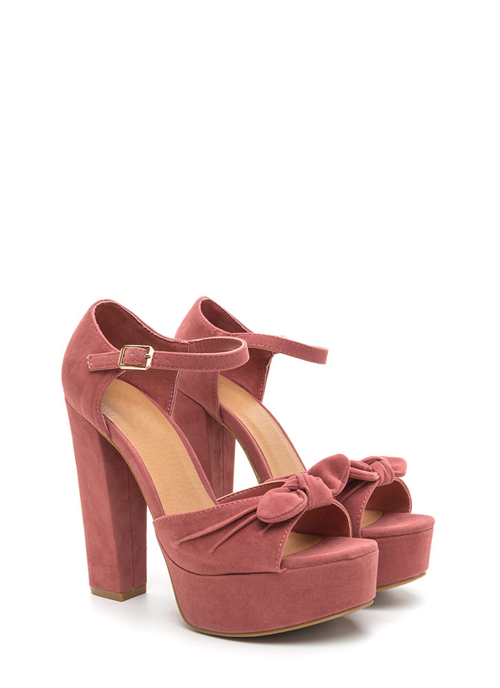 Bow Yes Faux Suede Chunky Heels DKMAUVE
