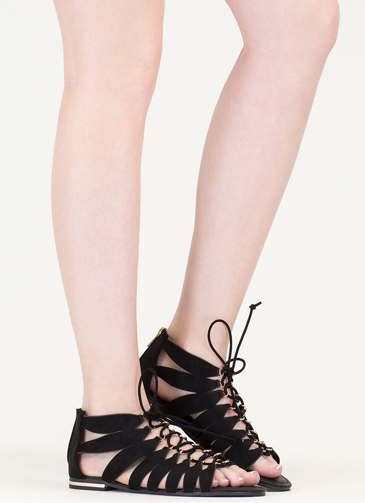 Go Anywhere Lace-Up Gladiator Sandals BLACK