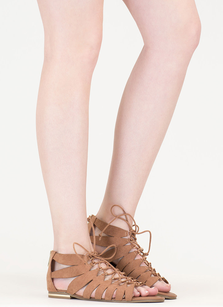 Go Anywhere Lace-Up Gladiator Sandals CAMEL