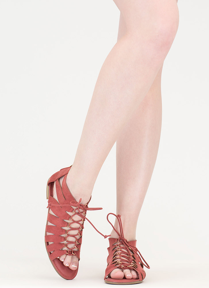 Go Anywhere Lace-Up Gladiator Sandals MAUVE