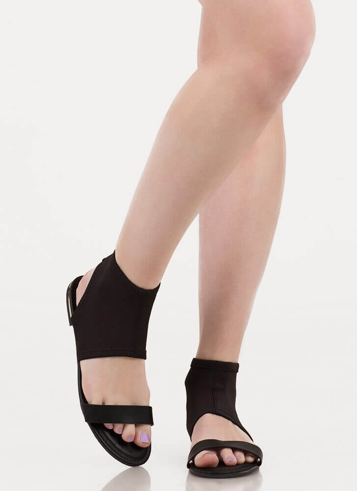 Minimal Sophistication Cut-Out Sandals BLACK (You Saved $13)