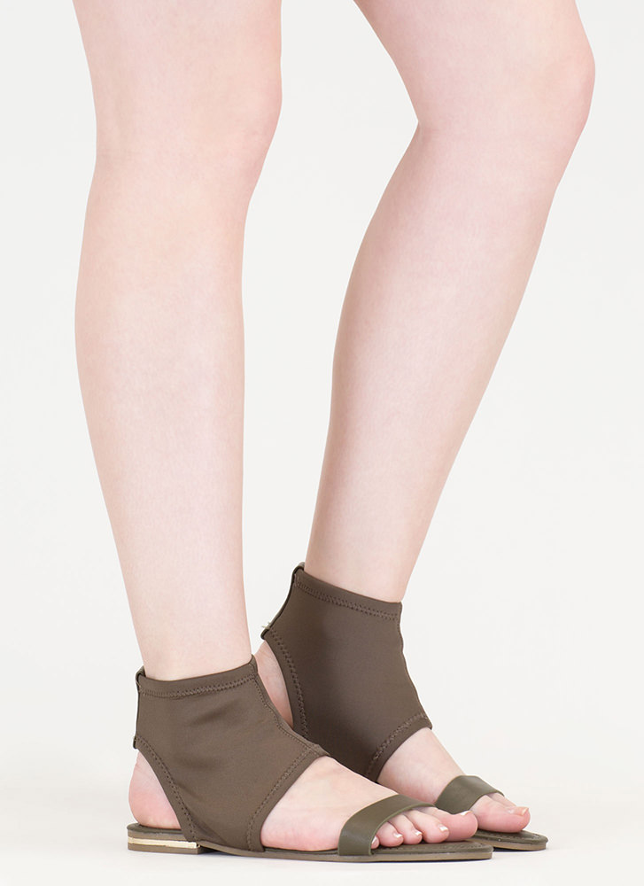 Minimal Sophistication Cut-Out Sandals OLIVE (You Saved $13)