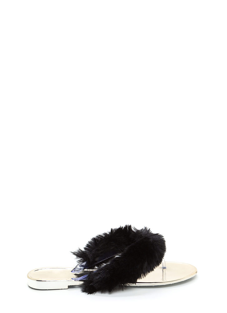 Fur-Ever And Ever Jelly Thong Sandals BLACK