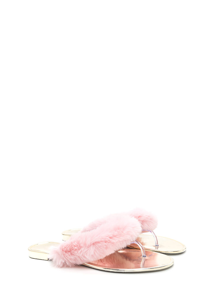 Fur-Ever And Ever Jelly Thong Sandals PINK