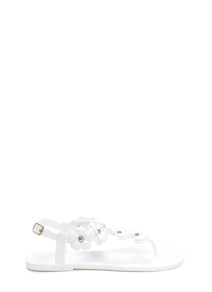 Petal Pusher Jelly T-Strap Sandals WHITE
