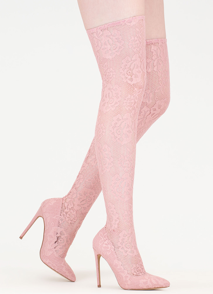 All About Lace Pointy Thigh-High Boots PINK