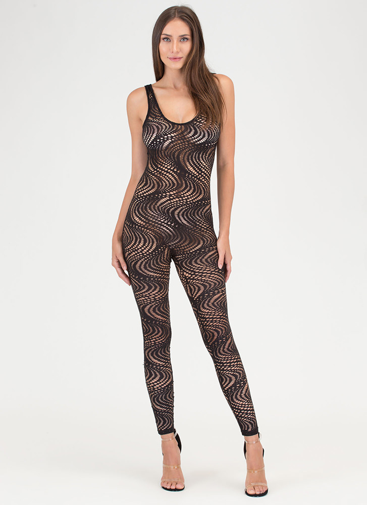 On The Hole Sheer Plunging Jumpsuit BLACK