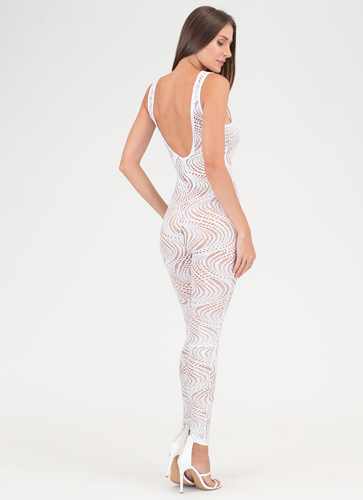 On The Hole Sheer Plunging Jumpsuit WHITE
