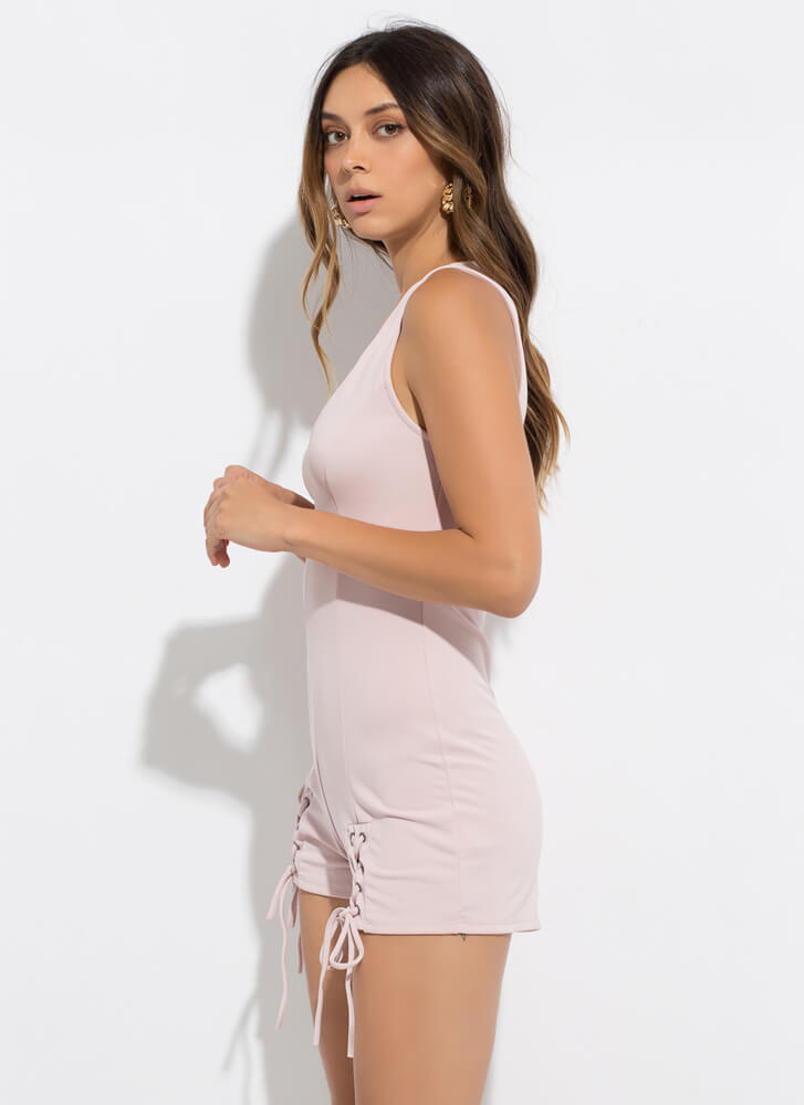Effortless Style Lace-Up Romper PINK