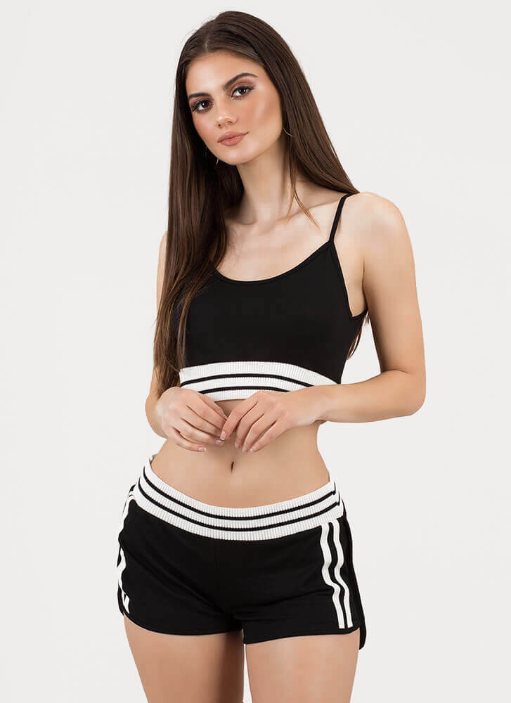 Off-Duty Squad Striped Top 'N Shorts Set BLACK