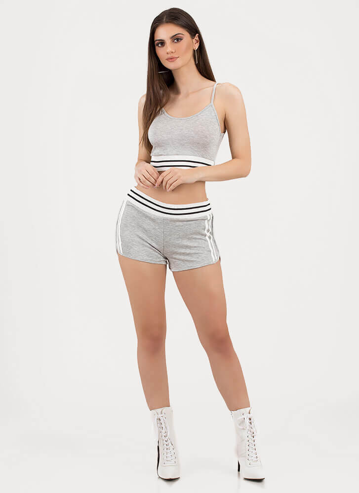Off-Duty Squad Striped Top 'N Shorts Set HGREY