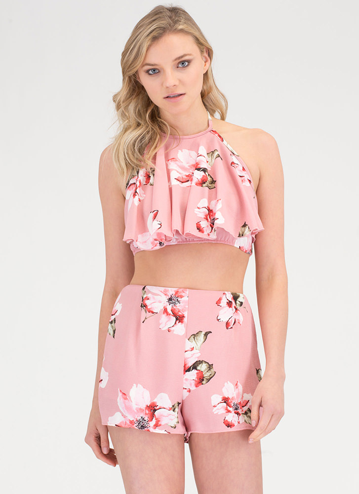 Floral Of The Story Top 'N Shorts Set PINK