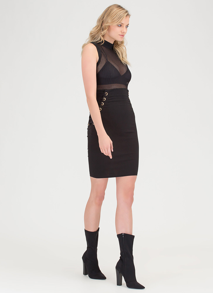 Laced It High-Waisted Pencil Skirt BLACK